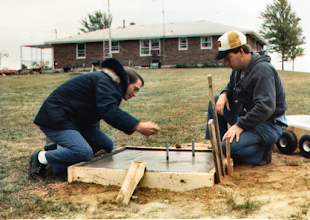 Photo: Jack WB9OTX - Jim WB9SRL Setting up the base for the 150 Ft Tower