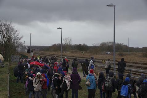 Der Sonderzug aus Berlin-Lichtenberg fährt in den Bahnhof Tantow ein. Foto: Andreas Schwarzre (asc)