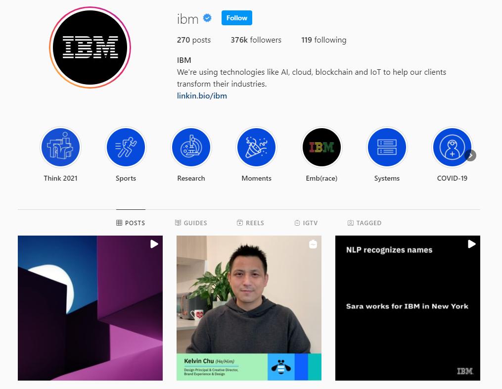 IBM Instagram profile
