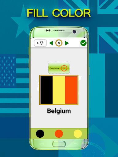 國旗測驗填充顏色,填充字符,猜國家猜測標誌和一切關於國旗