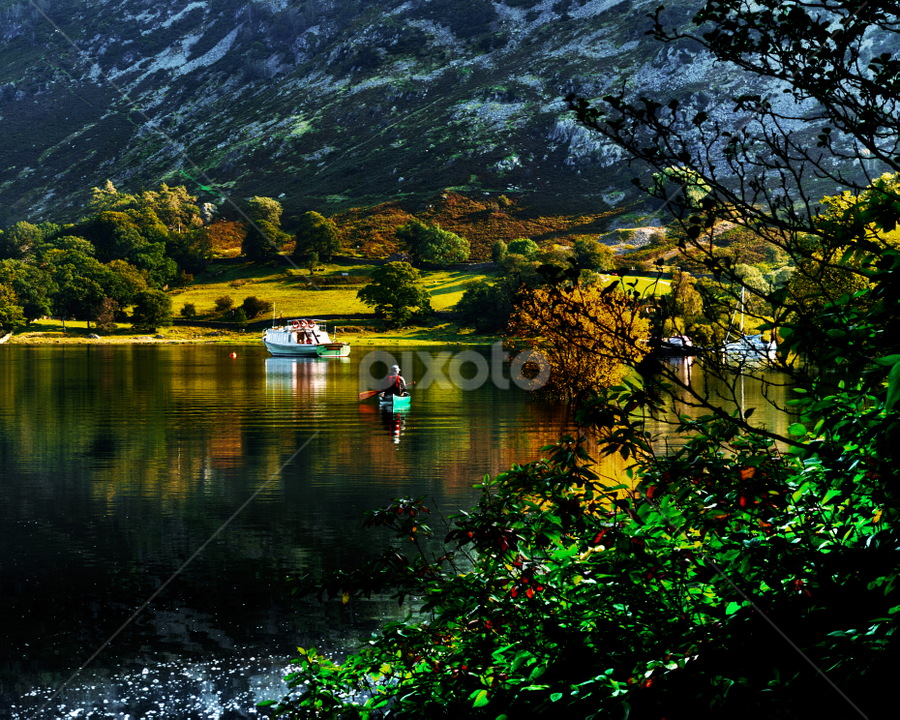 A calm day in the Lake District by Peter Greenhalgh - Landscapes Travel ( water, england, uk, mountain, autumnal, flat water, reflections, lake, ullswater, canoeist, lake district, paddle )