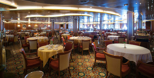 Ruby-Princess-Da-Vinci-Dining-Room - The Da Vinci dining room is one of the main dining venues on Ruby Princess.