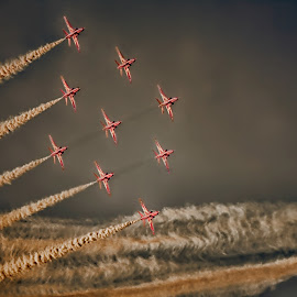 Reds 21 by Kelly Murdoch - Transportation Airplanes ( red arrows, red, reds, aircraft, air display, jets, jet, planes, air show, formation )
