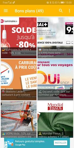 😎 Max de bons plans, codes promos, ventes flash Android App Screenshot