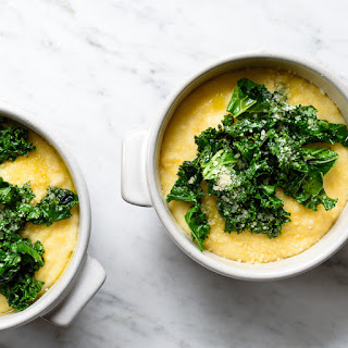Creamy Goat Cheese Polenta with Garlicky Greens