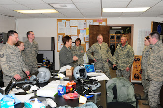Photo: National Guard Bureau Command CMSgt. Denise Jelinski-Hall talks with members of the Life Support shop after arriving at the 148th Fighter Wing on Nov. 20, 2010 in Duluth Minn.  CMSgt Denise Jelinski Hall came to the 148th FW to host an Airmens Call where she covered subjects such as suicide prevention and the importance family, friends and civilian employers have to the Naional Guard mission.  (U.S. Air Force photo by SSgt Donald Acton)