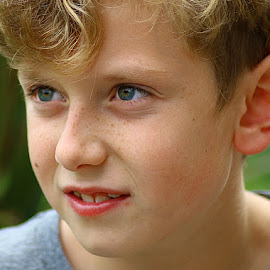 A Boy by Chrissie Barrow - Babies & Children Child Portraits ( face, hair, portrait, boy, child )