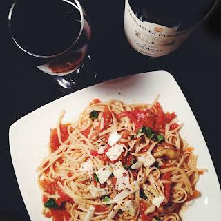 Fresh Tomato Sauce w/ Sautéed Zucchini & Spaghetti.