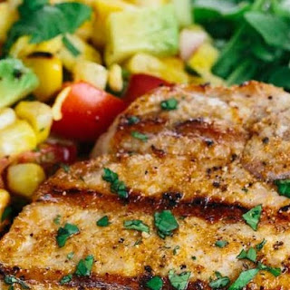 Spiced Grilled Pork Chops with Charred Corn Salad #Recipe