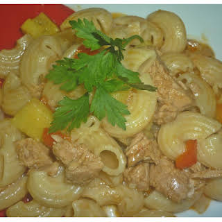 Pasta with Tuna and pineapple.