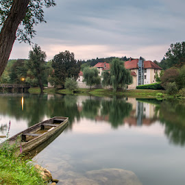 Otočec Castle by Tomaž Mikec - City,  Street & Park  Vistas ( reflection, castle, nature, tree, river, water, boat, scenics, architecture, morning )