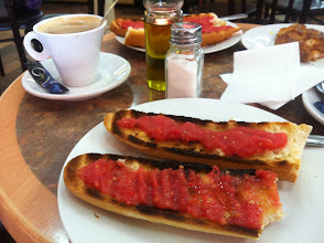 Photo: THIS. My perfect Spanish breakfast from the best bread place (aka Good Bread Place): cafe con leche and tostada con tomate. Drizzle EVOO and sprinkle salt. Joy.