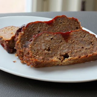 Cheddar Meatloaf with Tangy Sauce.