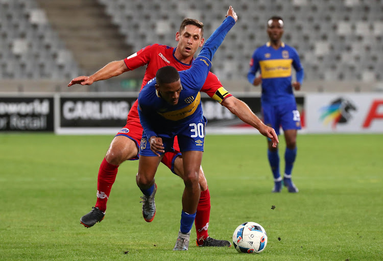 Craig Martin of Cape Town City is being challenged by Dean Furman of SuperSport United as Teko Modise watches on from behind during the Absa Premiership match at Cape Town Stadium, Cape Town on 14 April 2018. The match ended goalless.