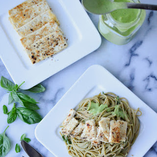 Cauliflower Pesto Pasta with Crispy Tofu