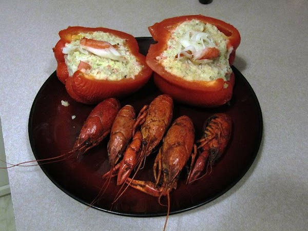 Garnish with a few shreds of imitation crabmeat and serve.