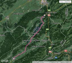 Photo: Le parcours, moins 3-4 kms au début car Charles a oublié de démarrer son GPS...