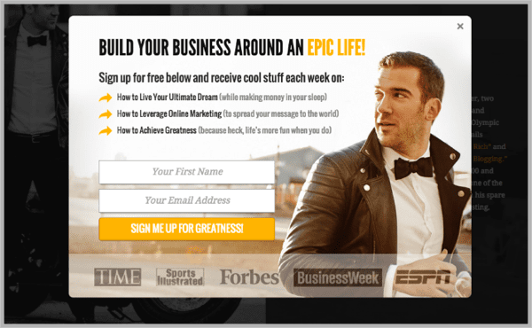 9 - Popup ad example