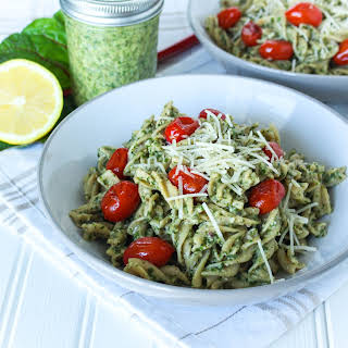 Pasta with Swiss Chard Walnut Pesto and Roasted Tomatoes.