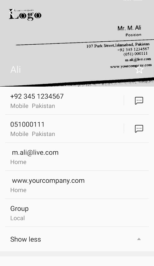 Scan Save Business Card Screenshot