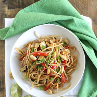 Healthy Pad Thai with Chicken.