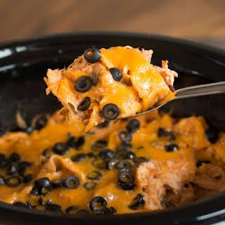 Chicken, Salsa and Cream Cheese Enchilada Casserole.