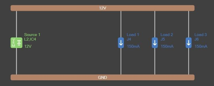 Altium PDN Analyzer simulation with 12V net, GND net, a source and 3 loads