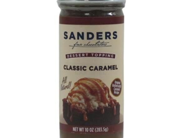 Warm up in jar the Sander's Classic Caramel Sauce or Caramel Fudge Sauce and...
