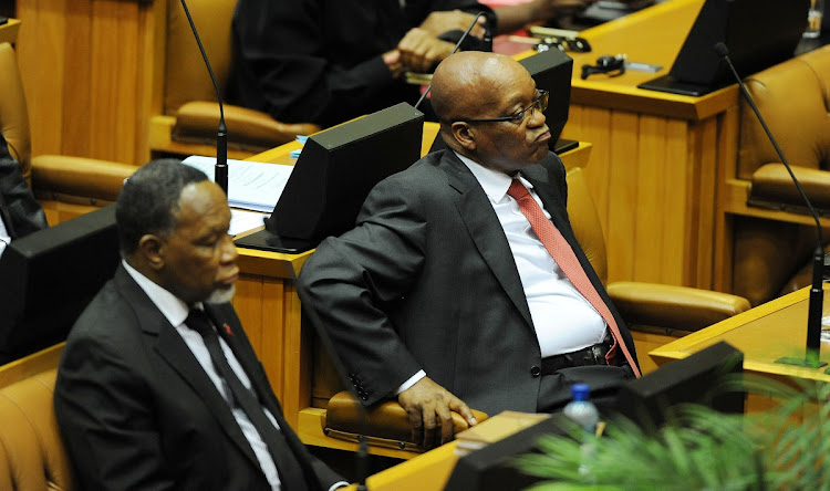 Then deputy president Kgalema Motlanthe and former president Jacob Zuma during the budget speech in parliament in 2014.