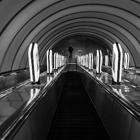 A Last Passenger by Andrey Dayen - Transportation Other ( passenger, subway, black and white, tunnel, interior, building, monotone, b&w, portrait, people, city, photography, #jipchallenge #paisley #photography,  )