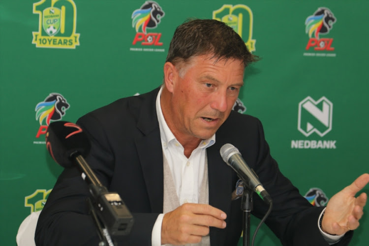 Beleaguered Orlando Pirates's head coach Kjell Jonevret during the coaches press conference at Moses Mabhida Stadium on June 22, 2017 in Durban, South Africa.