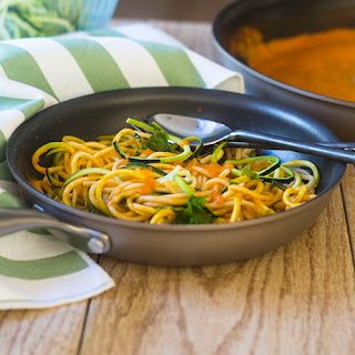 Zoodles in a Vegan Red Pepper Sauce.