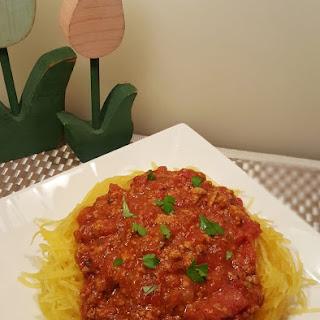 Pressure Cooker Spaghetti Squash and Meat Sauce.