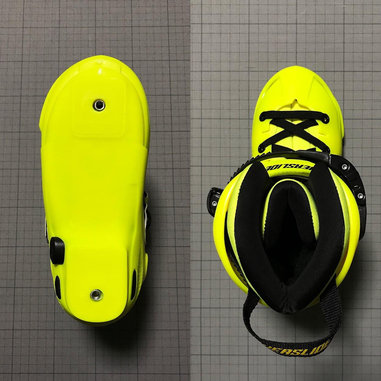 左:ブーツのソール裏の写真 右:ブーツの上からの写真