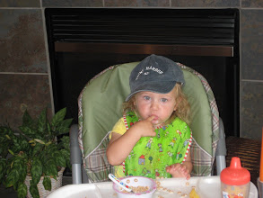 Photo: note the Elmo spoon and the elmo sippy cup. And being ready for Stone Harbor!