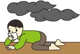 Bò, trườn dưới sàn nhà giúp bạn tránh khỏi nguy cơ bị nhiễm độc khói.