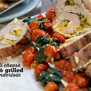 Broccoli Cheese Stuffed Grilled Pork Tenderloin Recipe