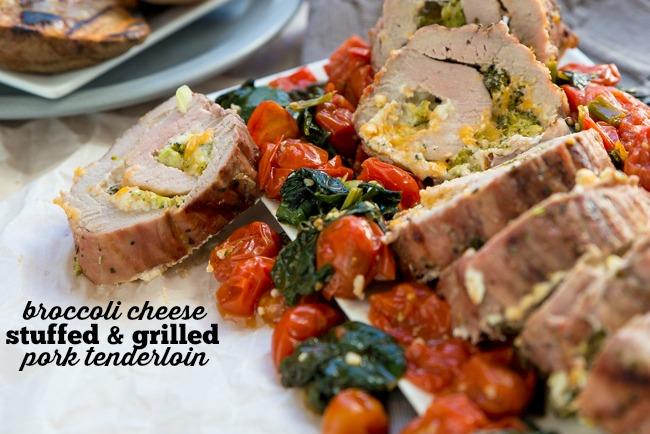 Broccoli Cheese Stuffed Grilled Pork Tenderloin Recipe