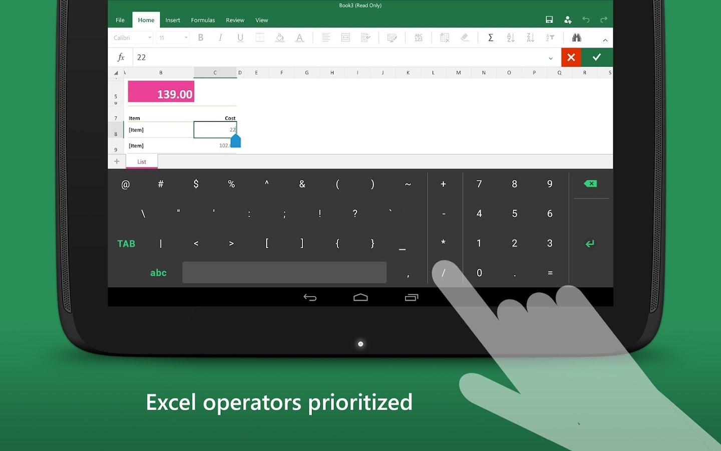 Keyboard for Excel- screenshot
