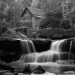 Glad Creek Grist Mill by Patrick Morgan - Landscapes Travel ( water, mill, babcok state park, nature, west virginia, black and white, grist mill, waterfall, creek, b & w )