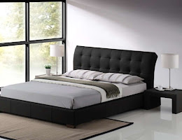 Contemporary style Faux Leather Bed in Black in a bedroom