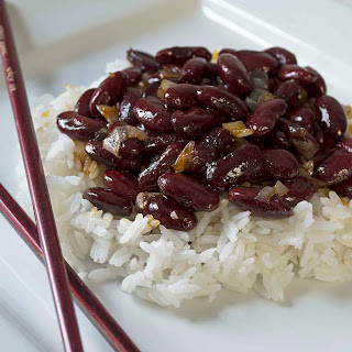 Kidney Beans and Rice with Garlic Molasses Sauce.