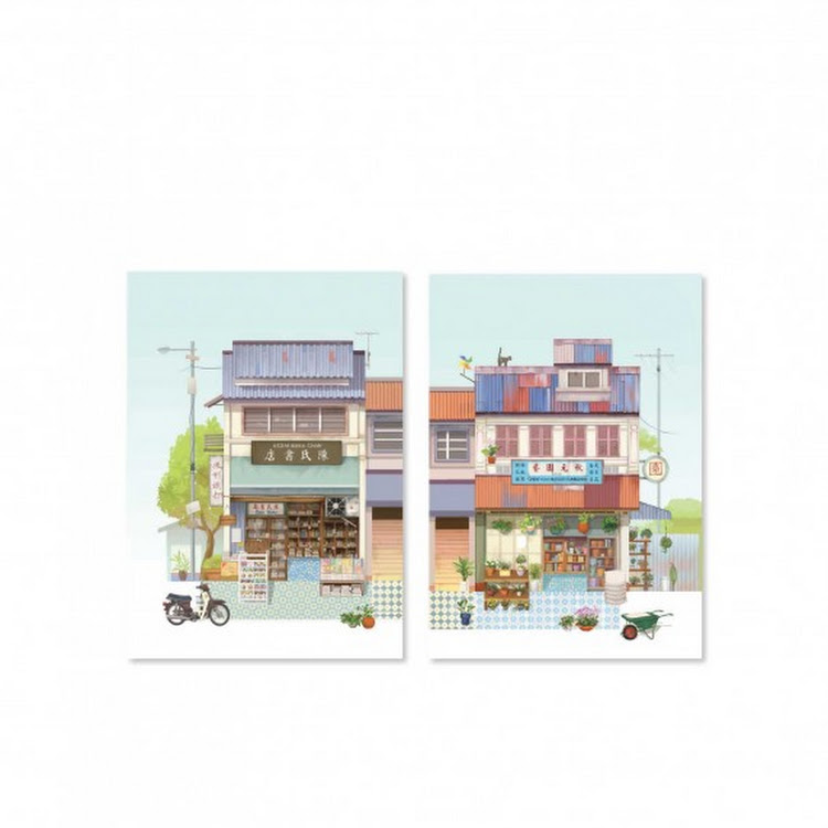 Pop Up Postcard :Old Book Store And Florist Shop by Loka Made