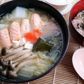 SALMON BELLY MISO SOUP.