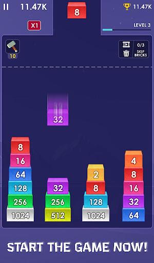 Télécharger 2048 Merge Bricks - Number Puzzle - 2048 Solitaire APK MOD (Astuce) screenshots 1