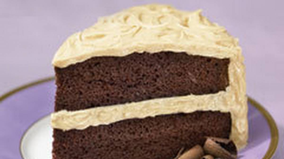 Super Moist Chocolate Cake With Fluffy Peanut Butter Frosting