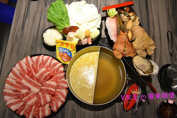 新莊火鍋 湯正黑潮涮涮 ~ 霸氣雙人套餐,特殊海鮮食材、大份量肉品、好喝牛奶起司湯底,餐後再來隻meiji冰品,真是完美 !!!