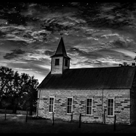 by Judy Rosanno - Black & White Buildings & Architecture ( crabapple church,  )