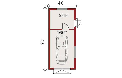 APG-1 wersja B - Rzut garażu