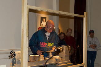 Photo: Mike at the lathe.